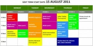 AUGUST 2011 TIMETABLE TROPICAL SOUL DANCE CLASSES