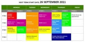 SEPTEMBER 2011 TIMETABLE