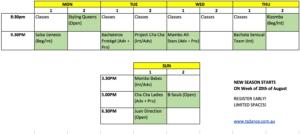 2017 Summer Choreos Schedule