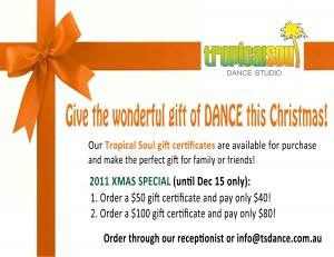 Tropical Soul Dance Studio Christmas Gift Certificate